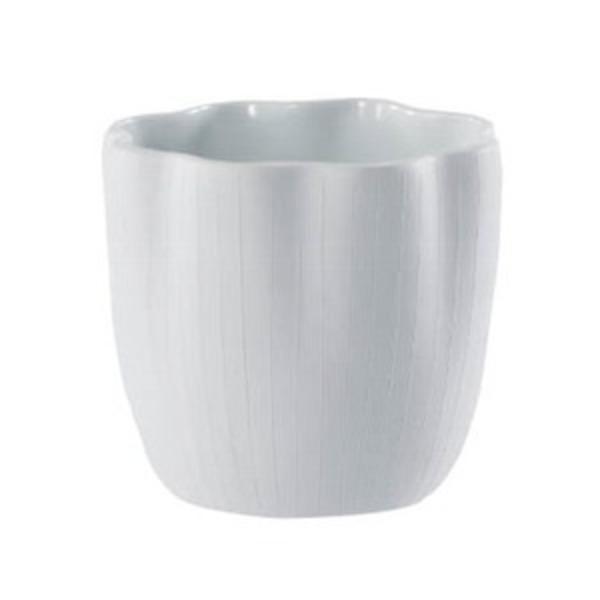 【6個入】シンプルテイスト 花瓶/花器 【ホワイト 直径12cm】 穴無し 磁器 『エフ フラワー』 〔園芸 ガーデニング用品〕