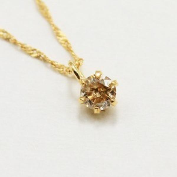 18金 イエローゴールド ブラウンダイヤモンド 0.1ct ペンダント ネックレス