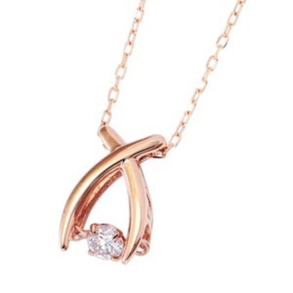 ダイヤモンドペンダント/ネックレス 一粒 K18 ピンクゴールド 0.08ct ダンシングストーン ダイヤモンドスウィングネックレス 揺れるダイヤが輝きを増す☆ リボンモチーフ 揺れる ダイヤ