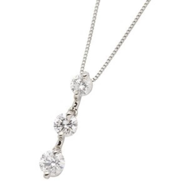 ダイヤモンドペンダント/ネックレス 3石 ダイヤ合計0.5カラット プラチナ Pt900 縦にセットされた人気のダイヤ3ストーン 鑑別書付き