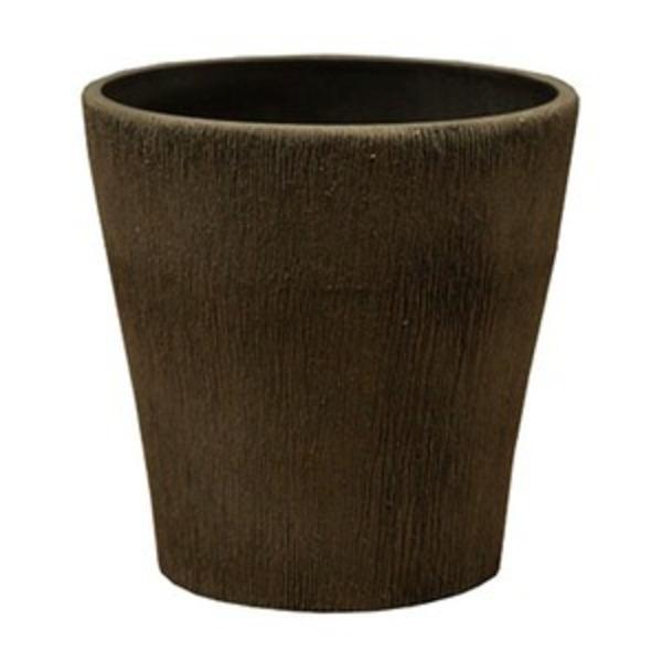 【4個入り】 樹脂製 植木鉢/プランター 【ラウンドミニ型 チャコール】 直径15cm 軽量タイプ 底穴なし 『ブラーシュ』