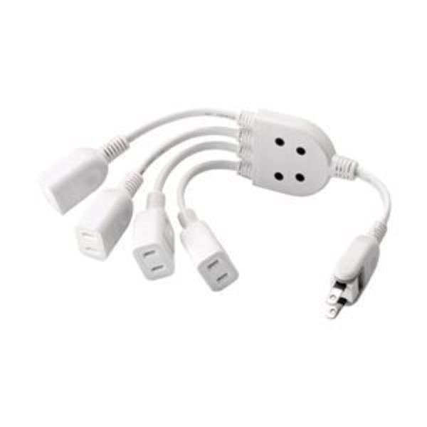 エレコム ACアダプタ用電源延長コード/2P/4個口/ホワイト T-ADR4WH