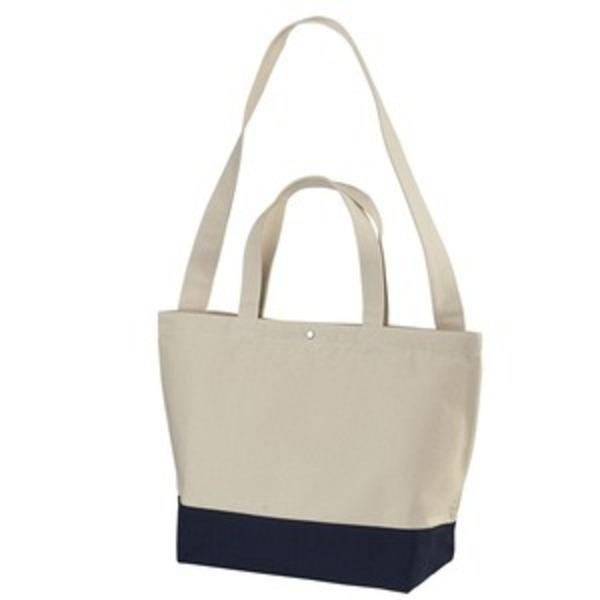 帆布製綿キャンパスコットンスイッチングトートバッグ2WAY ナチュラル/ネイビー