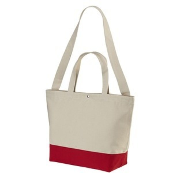帆布製綿キャンパスコットンスイッチングトートバッグ2WAY ナチュラル/フレンチ レッド