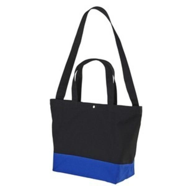 帆布製綿キャンパスコットンスイッチングトートバッグ2WAY ブラック/コバルトブルー