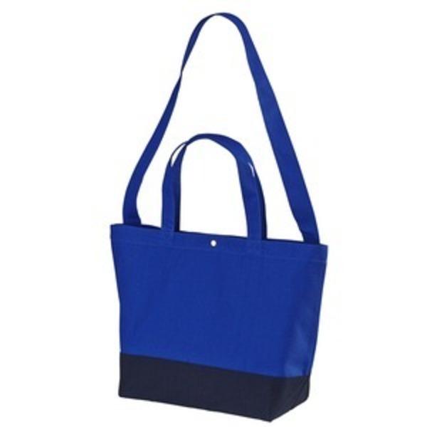 帆布製綿キャンパスコットンスイッチングトートバッグ2WAY コバルトブルー/ネイビー