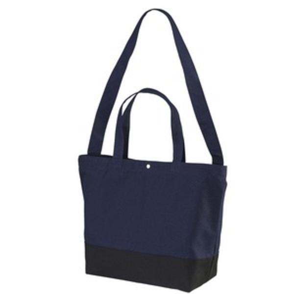 帆布製綿キャンパスコットンスイッチングトートバッグ2WAY ネイビー/ブラック