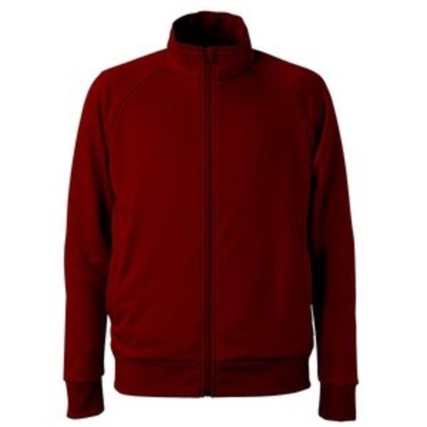 UVカット・吸汗速乾・ドライジャージパイルフルジップラグランスリーブジャケット バーガンディー S