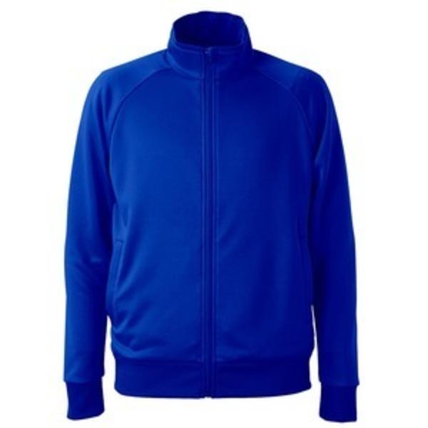 UVカット・吸汗速乾・ドライジャージパイルフルジップラグランスリーブジャケット コバルトブルー L