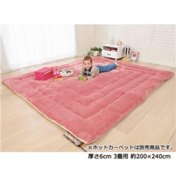 ふっかふかラグマット 単品 【厚さ3cm 1畳用 約90×180cm】 床暖可 サーモンピンク