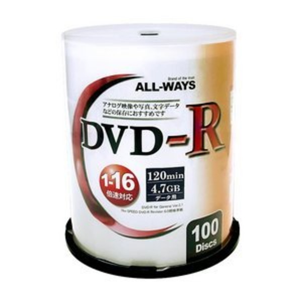 ALL-WAY DVD-R16倍速100枚スピンドル ALDR47-16X100PWX10P 【10個セット】