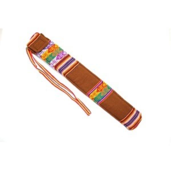 【QUENA SOFT CASE BROWN AGUAYO】民族楽器ケーナ用の布・ソフトケース アンデス織物のアワイヨ柄 ブラウン(茶色)★ペルー製