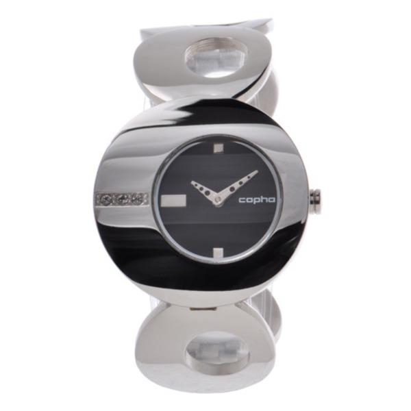 【北欧デザイン腕時計】 Copha コプハ  O オー Solid Bracelet Black×Silver White Stones