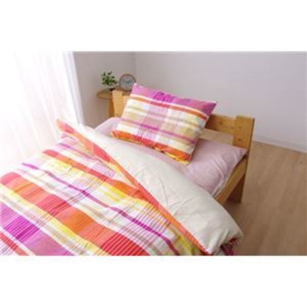 布団カバー 洗える チェック柄 インド綿使用 『バジル 掛け布団カバー』 ピンク ダブル 約190×210cm