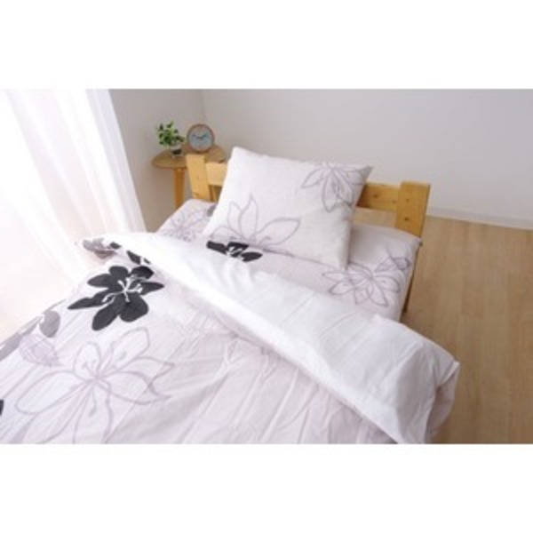 布団カバー 洗える 花柄 リーフ柄 『シェリー 敷布団カバー』 グレイ シングル 約105×215cm