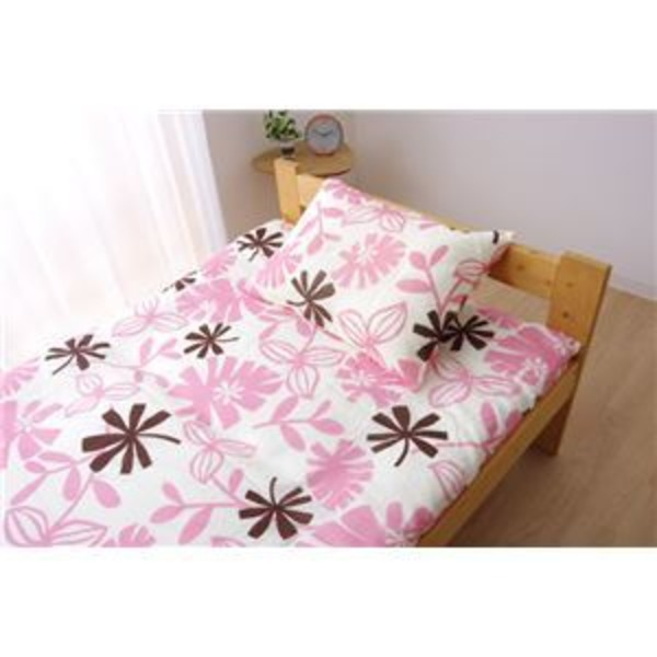 布団カバー 洗える 花柄 リーフ柄 『ルイード 敷布団カバー』 ピンク ダブル 約145×215cm
