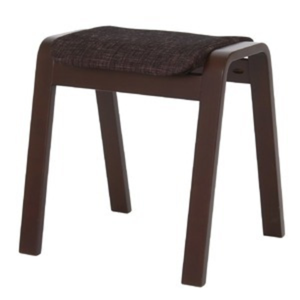 スタッキングスツール/腰掛け椅子 【同色4脚セット】 ファブリック木製脚 ブラック(黒) 【完成品】
