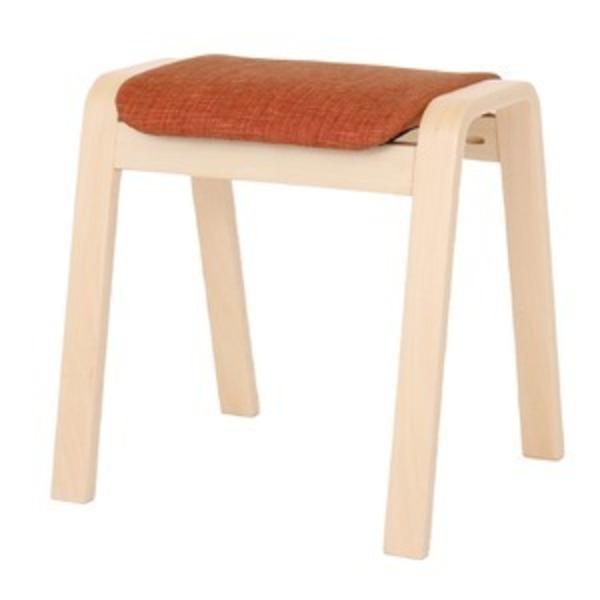 スタッキングスツール/腰掛け椅子 【同色4脚セット】 ファブリック木製脚 オレンジ(橙) 【完成品】