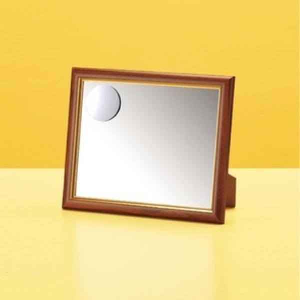 2倍拡大鏡付き卓上ミラー 【壁掛け・置き型両用】 ホワイトガラス使用 日本製